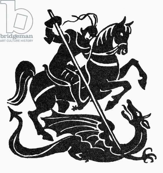 SAINT GEORGE AND THE DRAGON Symbol of courage. Woodcut.