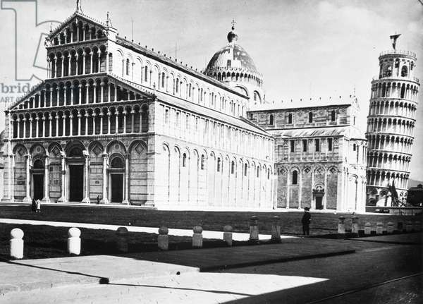 ITALY: PISA, 20th CENTURY The Leaning Tower of Pisa and Cathedral. Photograph, mid-20th century.