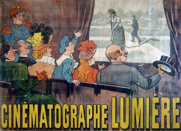 CINEMA POSTER, c.1895 Lithograph poster advertising the first movie theater in Paris, France, Cinematographe Lumiere, c.1895.