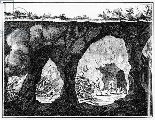 DIDEROT: UNDERGROUND MINE Miners loosening rocks with the help of bonfires. Line engraving from Denis Diderot's Encyclopedie, 1751-1772.
