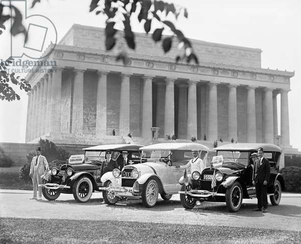 SHRINER CONVENTION, 1923 Cars waiting for masonic leaders Esten A. Fletcher and Frank C. Jones at the Lincoln Memorial in Washington, D.C., during the Shrine convention in 1923.