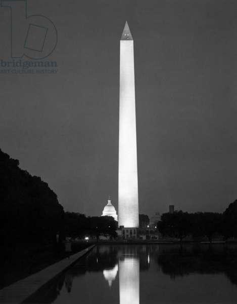 WASHINGTON MONUMENT The Washington Monument at night, Washington D.C. Photograph, c.1965.