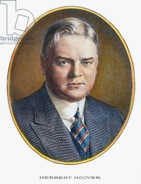 HERBERT HOOVER (1874-1964) 31st President of the United States. Contemporary steel engraving.