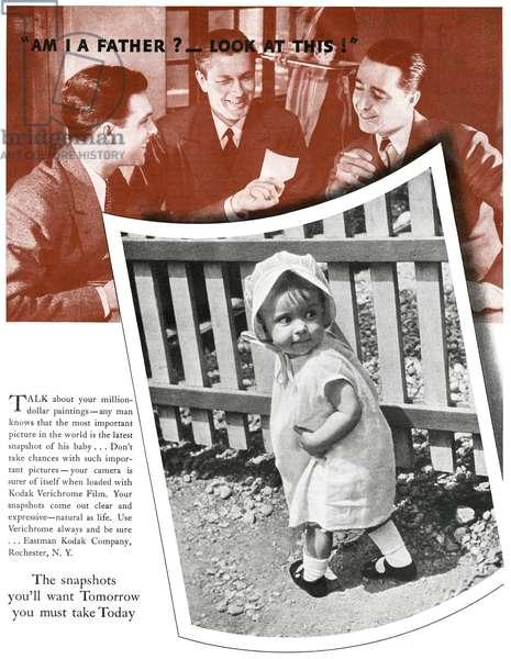 AD: KODAK, 1935 American advertisement for Kodak Verichrome Film. Photograph, 1935.