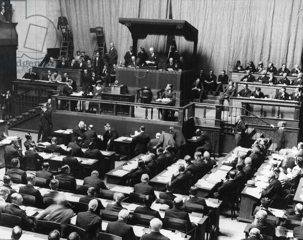 LEAGUE OF NATIONS, 1924 Opening session of the Fifth Assembly of the League of Nations in the Hall of the Reformation, Geneva, Switzerland, 1 September 1924. Acting president Paul Hymans, the Belgian Minister of Foreign Affairs, is speaking from the podium.