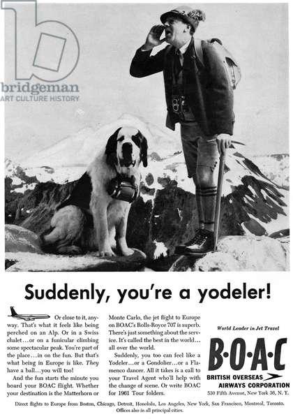 AD: BRITISH AIRWAYS, 1961 American advertisement for the British Overseas Airways Corporation (now British Airways), 1961.