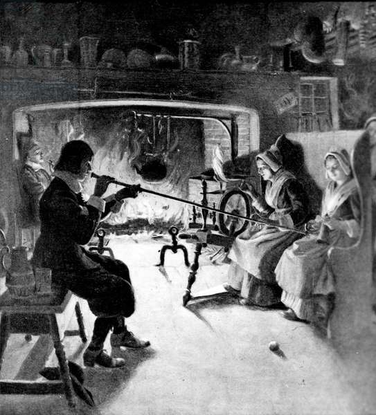 HOLIDAYS: HALLOWEEN Using the whispering rod in a colonial kitchen on Halloween: engraving.