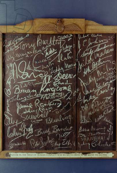 WWII: BATTLE OF BRITAIN Battle of Britain RAF pilots' signature board from the White Hart, Brasted, England, 1940.