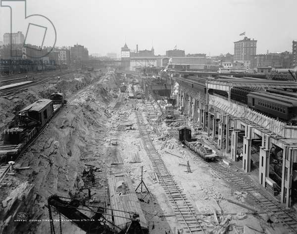 GRAND CENTRAL STATION Excavations at the construction site of Grand Central Station in New York City. Photograph, c.1908.