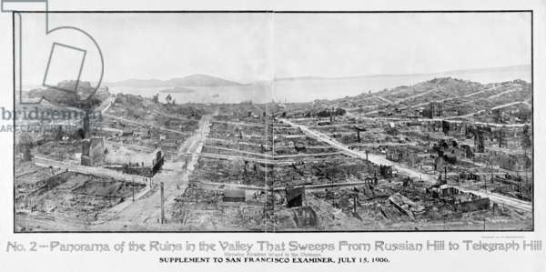 SAN FRANCISCO EARTHQUAKE, 1906. The ruins of San Francisco from Russia Hill to Telegraphs Hill in the aftermath of the April earthquake and fire. Alcatraz Island is visible in the background. Photograph from the San Francisco Examiner, 15 July 1906.