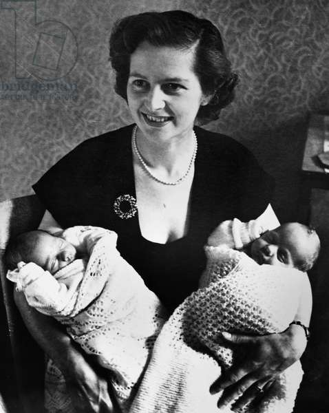 MARGARET THATCHER (1925-2013). English politician. Photographed with her newborn twins, Mark and Carol, in 1953.