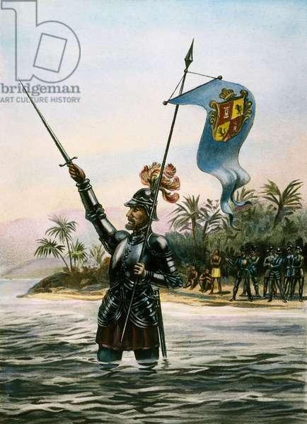 VASCO NUNEZ de BALBOA (1475-1519). Spanish explorer. Balboa taking possession of the Pacific Ocean for Spain on September 29, 1513. Color lithograph, 19th century.