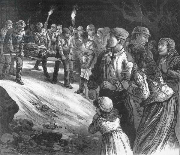 COAL MINE DISASTER, 1884 Gathering the remains of the victims of the explosion at the Pocahontas Coal Mines, Virginia, 13 March 1884: wood engraving from a contemporary American newspaper.