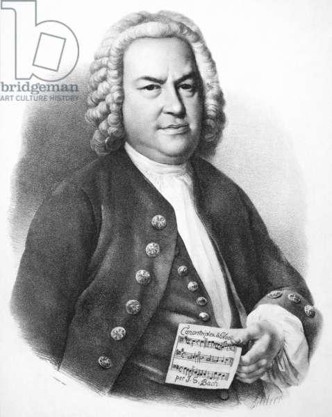 JOHANN SEBASTIAN BACH (1685-1750). German organist and composer. Lithograph, 19th century, after a painting by Elias Gottlob Haussmann.