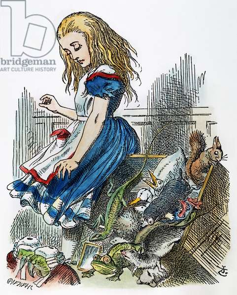 CARROLL: ALICE, 1865 Alice upsets the jury box. After the design by Sir John Tenniel for the first edition of Lewis Carroll's 'Alice's Adventures in Wonderland.'