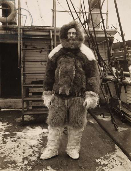 ROBERT PEARY (1856-1920) American arctic explorer. Peary on deck of his ship, 'Roosevelt,' c.1909.