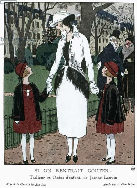 A woman and two schoolgirls wearing fashions by Jeanne Lanvin. Fashion plate for the French magazine 'La Gazette du Bon Ton,' 1920 (engraving)