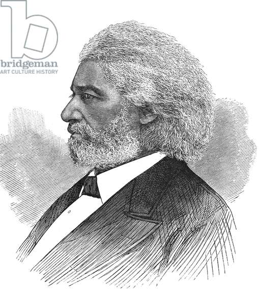 FREDERICK DOUGLASS ( c.1817-1895). American abolitionist. Wood engraving, American, 1877.