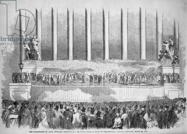 BUCHANAN INAUGURATION The inauguration of James Buchanan as the 15th President of the United States at the Capitol, Washington, D.C., on 4 March 1857.