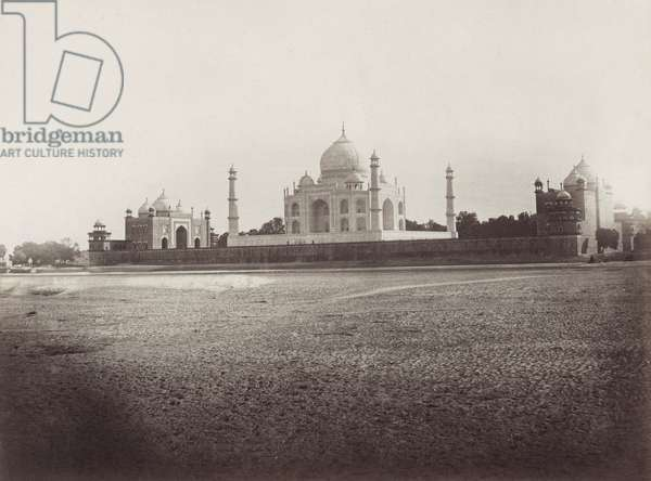 INDIA: TAJ MAHAL, c.1890 The Taj Mahal was built by Mughal Emperor Shah Jahan as a mausoleum for his wife Mumtaz Mahal. The construction started in 1631 to end in 1653. Photographed, c.1890.