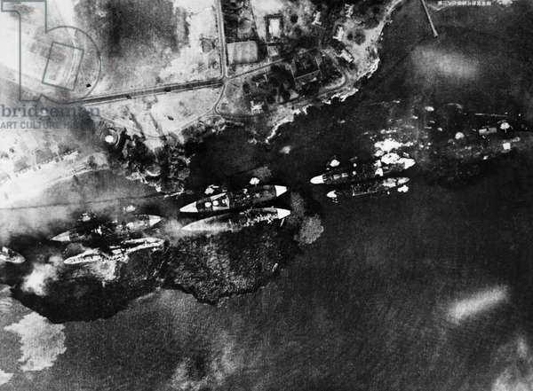WORLD WAR II: PEARL HARBOR Photograph taken from a Japanese plane during the attack on Pearl Harbor, Hawaii, 7 December 1941.