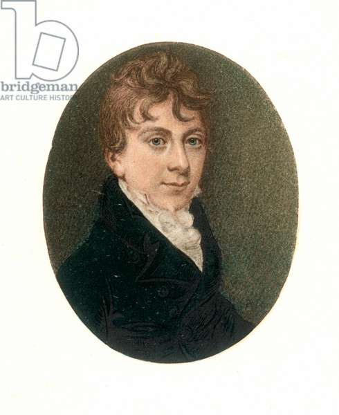 THOMAS LOVE PEACOCK (1785-1866). English novelist and poet. Miniature, 1803, by an unknown artist.
