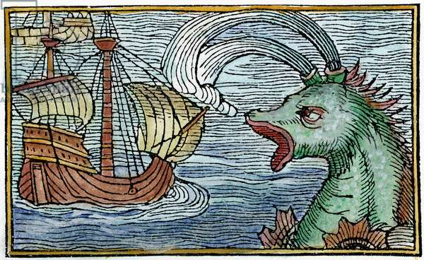 SEA MONSTER, 1555 One of the sea monsters thought to inhabit the 'Sea of Darkness' to the west and south of Europe. Woodcut from Swedish geographer Olaus Magnus' 'Historia de Gentibus Septentrionalibus', Rome, 1555.