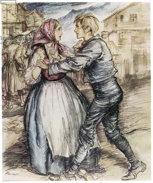 IBSEN: PEER GYNT. Peer and Solveig at the Wedding. Illustration by Rackham (1867-1939).
