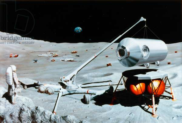 SPACE: LUNAR CRANE, 1984 Artist's conception of a lunar crane in operation on the surface of the moon. Illustration for NASA by Pat Rawlings, 1984.