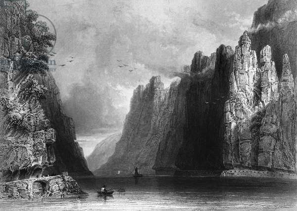 ROMANIA: KAZAN PASS A view of Kazan Pass, on the border between Serbia and Romania (then part of the Kingdom of Hungary, in the Austrian Empire) on the Danube River. Steel engraving, English, 1844, after William Henry Bartlett.