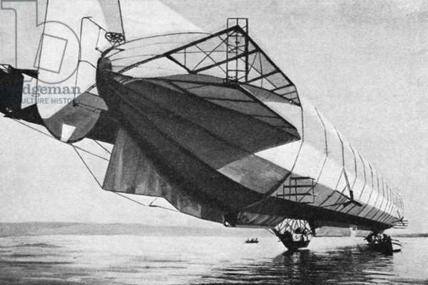 COUNT ZEPPELIN'S AIRSHIP Airship invented by Count Ferdinand von Zeppelin (Graf Zeppelin). Early 20th century photograph.