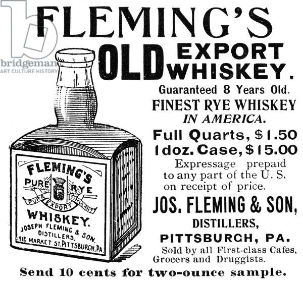 FLEMING'S WHISKEY, 1895 American magazine advertisement, 1895.