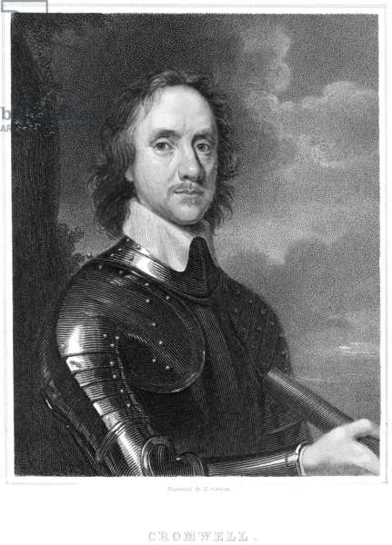 OLIVER CROMWELL (1599-1658) Lord Protector of England (1653-1658). Steel engraving after the painting by Robert Walker.