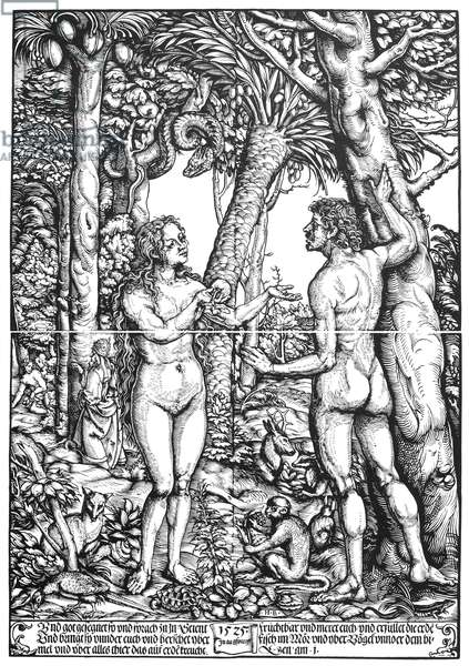 ADAM & EVE A 1525 woodcut by Hans Burgkmair the Elder, printed from four blocks.