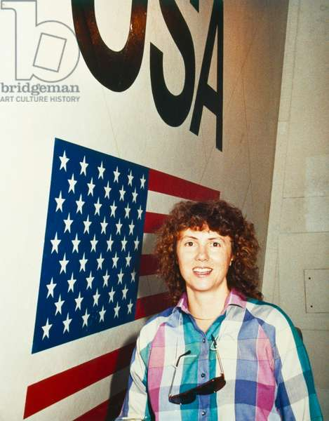 CHRISTA MCAULIFFE (1948-1986) American teacher and NASA spaceflight participant. Photograph, 1985.