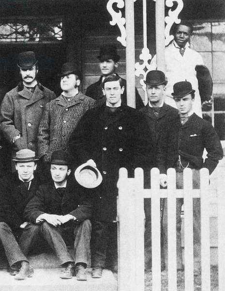 WOODROW WILSON (1856-1924) 28th President of the United States. Wilson (center, holding hat) photographed with fellow members of the Alligator Club while a student at Princeton University, 1877.