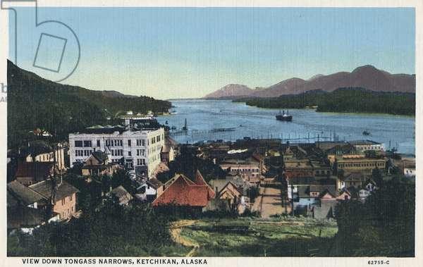 ALASKA: KETCHIKAN, c.1939 View down Tongass Narrows in Ketchikan, Alaska. Postcard, American, c.1939.