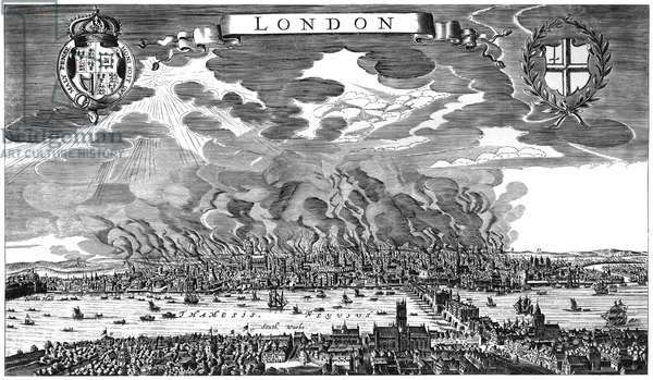 GREAT FIRE OF LONDON, 1666 The fire in September 1666 destroyed 13,200 houses and 89 churches, but the death toll was only six persons. Line engraving by Marcus Willemsz from a contemporary Dutch newsletter.