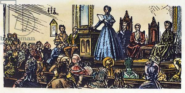 SENECA FALLS MEETING, 1848 Elizabeth Cady Stanton addressing the first Women's Rights meeting at Seneca Falls, New York, on 20 June 1848. Illustration, early 20th century.