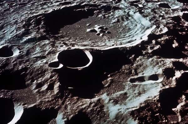 APOLLO 11: MOON CRATERS The moon. Lunar Farside. I.A.U. Crater No. 308, diameter 50 miles, 179E, 5.5S. (Apollo 11).