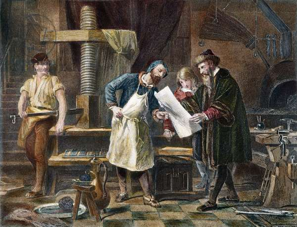 JOHANN GUTENBERG ( c.1395-1468) (Steel engraving) 19th century.