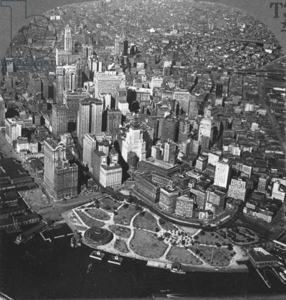 NEW YORK SKYLINE, c.1920 An aerial view of lower Manhattan showing the Woolworth Building and the Aquarium, c.1920: from a stereograph view.