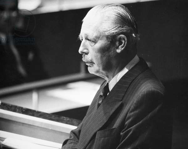 HAROLD MACMILLAN (1894-1986). English politician. Photographed, 29 September 1960, in the General Assembly at United Nations in New York City.