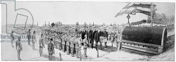 BURIAL OF ULYSSES S. GRANT Depositing the coffin of Ulysses S. Grant in the tomb, and firing of volleys of musketry by the 7th and 22nd Regiments, N.G.S.N.Y., 8 August 1885. Contemporary wood engraving.
