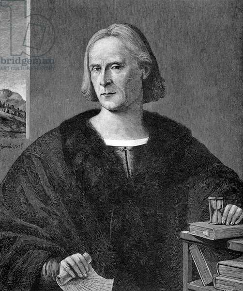 CHRISTOPHER COLUMBUS (1451-1506). Italian navigator. Engraving, American, 1892, after a painting, 1512, by Lorenzo Lotto.