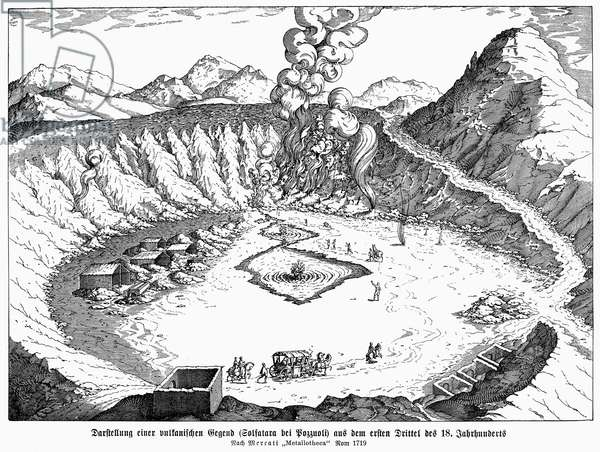 SICILY: POZZUOLI, 1719 Camp at the Phlegraean Fields (Campi Flegrei), a volcanic area near Puzzuoli, Sicily. Line engraving, 1719.
