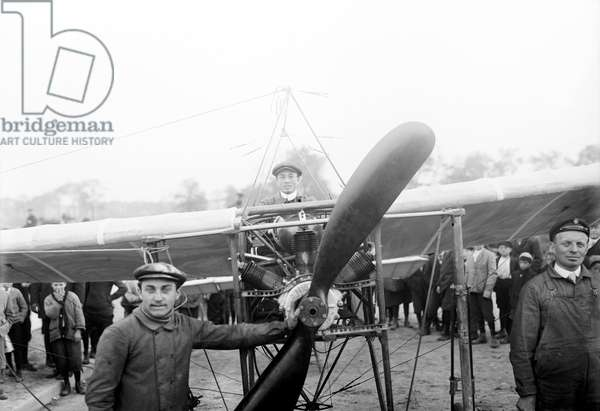 LOUIS BLERIOT (1872-1936) French engineer and pioneer aviator. Bleriot in his monoplane, n.d.