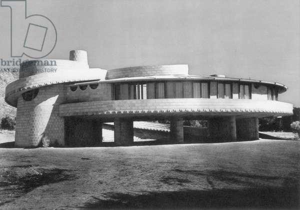 WRIGHT HOUSE, ARIZONA, 1952 The David Lloyd Wright House in the Arizona desert, designed by Frank Lloyd Wright, 1952.