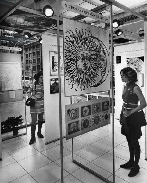 COPERNICUS EXHIBIT, c.1973 An exhibit commemorating the 500th anniversary of the birth of Nicolaus Copernicus at the IBM Exhibit Center in New York City. Photograph, c.1973.