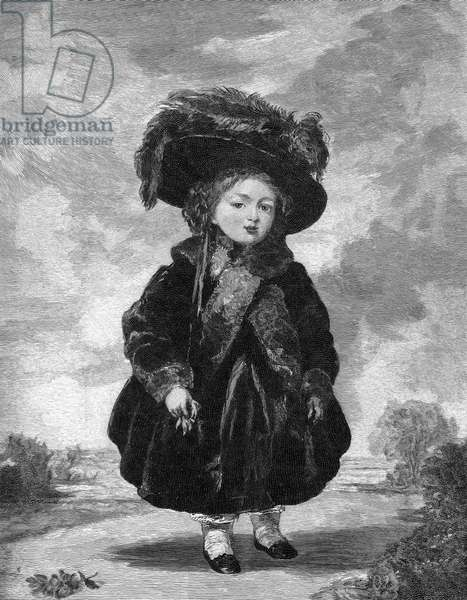 VICTORIA (1819-1901) Queen of Great Britain, 1837-1901. The future queen at age four: wood engraving after a painting by Stephen Pointz Denning.